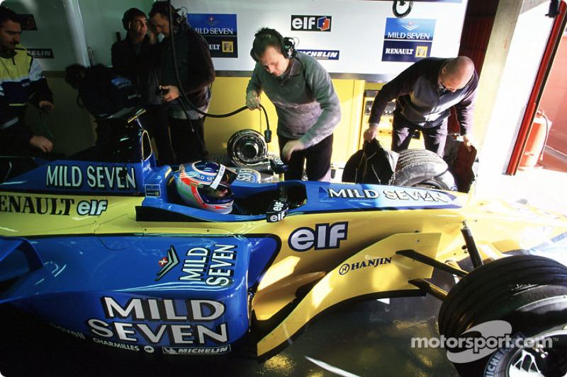 Jarno Trulli in the garage