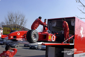 The Ferrari F2002 in the transporter
