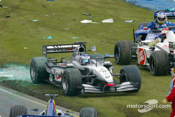 Kimi Raikkonen trying to avoid debris