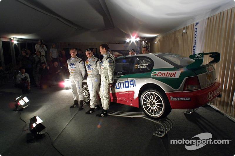 Freddy Loix, Tomasz Kuchar and Armin Schwarz presenting the new Hyundai Accent WRC3