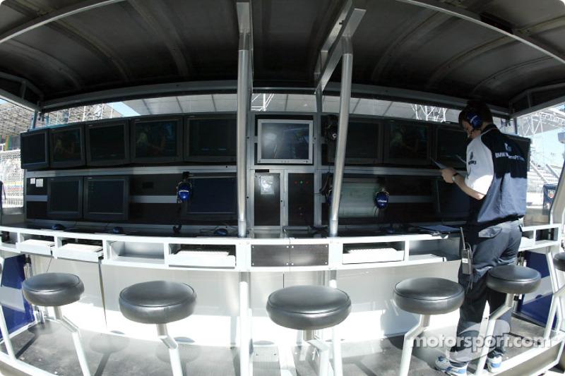 Team Williams-BMW pitwall on Sunday morning