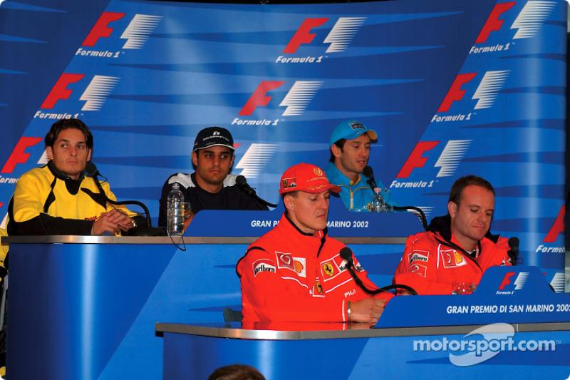 Thursday press conference: Michael Schumacher and Rubens Barrichello at the front, Giancarlo Fisichella, Juan Pablo Montoya and Jarno Trulli at the back