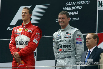Podium: race winner Michael Schumacher and David Coulthard