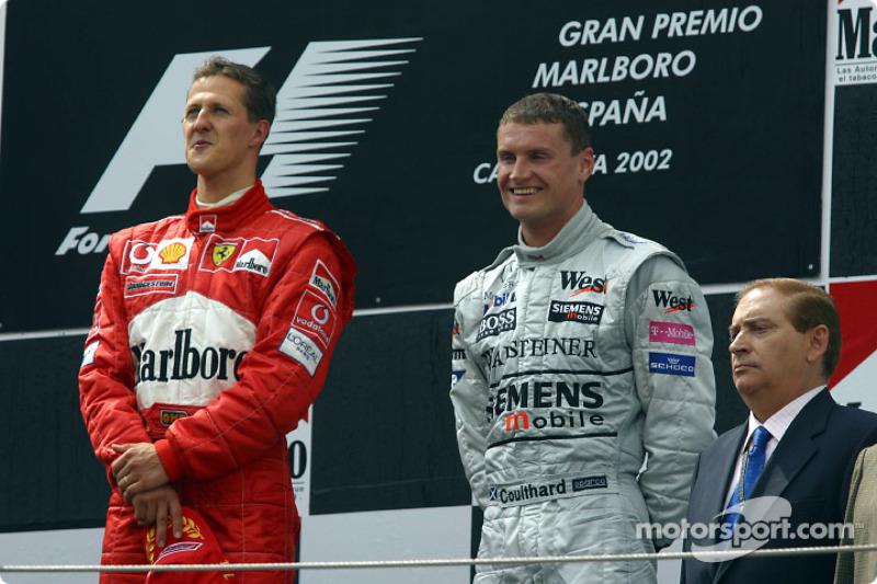 Podium: race winner Michael Schumacher and David Coulthard