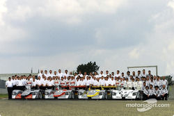 The Audi team for the 24 Hours of Le Mans 2002 (including Audi Sport Japan Team Goh)