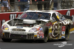 Oh what a difference a day makes: from front to back, from unmarked to battered, Dale Jarrett UPS Ford shows how short track racing can take its toll