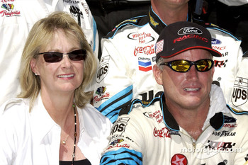 Ricky Rudd and wife Linda celebrating in Victory Lane