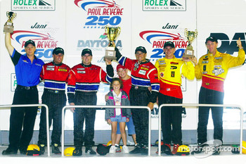The SportsRacing Prototype II podium finishers at the Jani-King Paul Revere 250