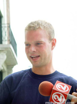Jan Magnussen visiting the media in Green Bay