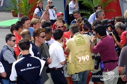 Rubens Barrichello giving interviews
