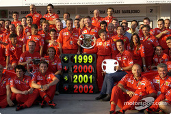 Team Ferrari celebrating its 4th consecutive Constructors World Championship