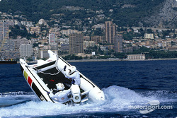 Olivier Panis trying a catamaran powerboat