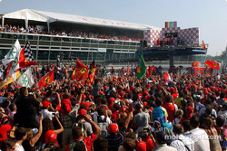 Tifosi during the podium ceremony