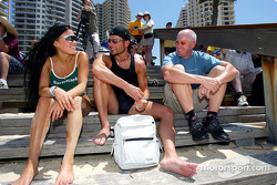 Alex Tagliani spent some time relaxing on the beach at Surfers Paradise with fiancee Bronte Kok and fellow Canadian CART driver Paul Tracy