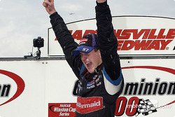 Race winner Kurt Busch celebrates