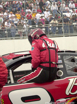 Dale Earnhardt Jr. getting into the car