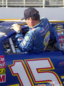 Michael Waltrip sliding in