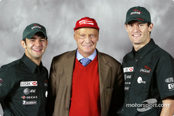 Antonio Pizzonia, Niki Lauda and Mark Webber