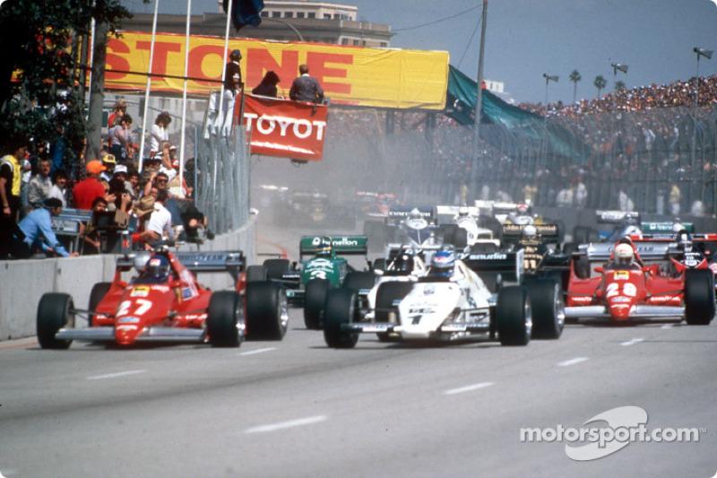 1983美国西部大奖赛发车:帕特里克·坦贝及科克·罗斯伯格领先