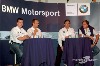 BMW Drivers Dirk Muller, Jorg Muller, Gerhard Berger and Dr. Mario Theissen (BMW Motorsport Directors) at the press conference