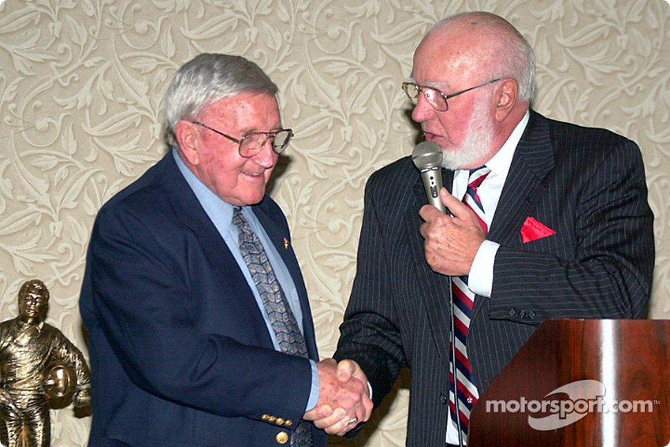 Dr. Joe Mattioli (Pocono Raceway) presents the first Junie Donlavey Spirit of the Sport Award to Junie Donlavey for his many contributions to motorsports