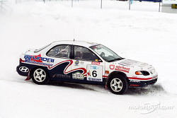 The team of Antoine L'Estage and Yanick Napert finished second in their Hyundai Elantra at the first round in the 2003 Canadian Rally Championship