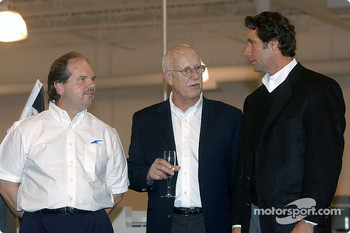 Technical director and partner Ken Anderson, Falcon Cars President Michael Kranefuss and Tony George