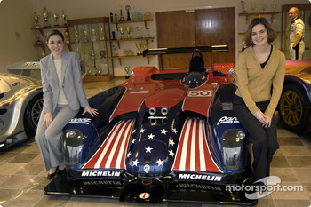 Miss Universe Justine Pasek with the Panoz American Le Mans Series car