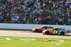 Dale Earnhardt Jr. battles with Jeff Gordon for second place