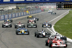 The start: Rubens Barrichello leads the rest of the field