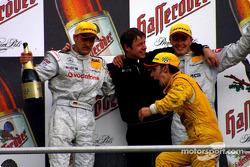 The podium: race winner Bernd Schneider, Marcel Fassler and Laurent Aiello