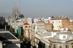 View of Barcelona rooftops and Sagrada Familia