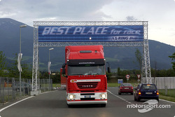Ferrari transporters arrive at the A1-Ring