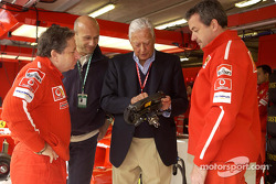 Jean Todt and Umberto Agnelli in the Ferrari garage
