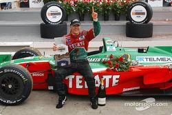 Race winner Adrian Fernandez celebrates