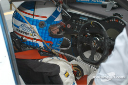 Scott Goodyear in the office of what was to be the winning car.