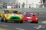 #10 Jaguar E Type: Carlos Monteverde, and #7 Ferrari 512S: Nick Mason, Mark Hales
