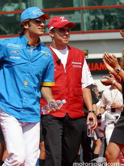 Drivers parade: Jarno Trulli and Olivier Panis