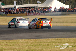 The OzEmail Ford of Brad Jones has run itís race after oil spews from the rear of the car