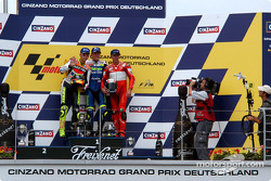 The podium: race winner Sete Gibernau with Valentino Rossi and Troy Bayliss