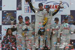 GTS podium: race winners Oliver Gavin, Kelly Collins, with Ron Fellows, Johnny O'Connell and Emanuele Naspetti, Domenico Schiattarella
