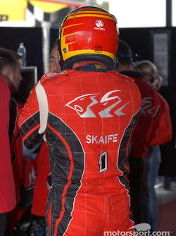 Holden Racing Team Mark Skaife watches the monitors during the shoot out