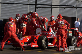 Pitstop practice for Michael Schumacher