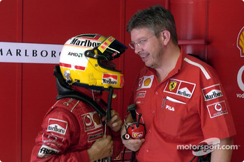 Luca Badoer and Ross Brawn