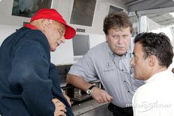 Niki Lauda, Norbert Haug and Jean Alesi