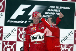 Podium: Rubens Barrichello and Jean Todt