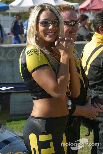 Starting grid: a Pirelli girl