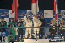 Podium P900: winners Tom Kristensen and Seiji Ara with Franck Lagorce, Stephane Sarrazin, Sébastien Bourdais, and Jan Lammers, Andy Wallace