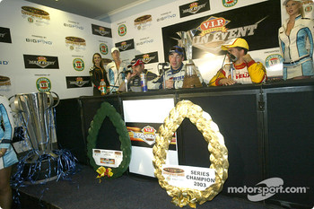 Press conference: race winner Marcos Ambrose with Jason Bright and Max Wilson