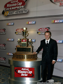 Ford driver Matt Kenseth with his Winston Cup prize